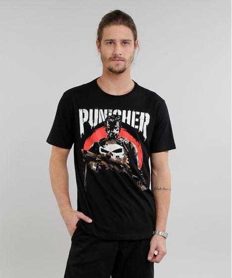 Camiseta Masculina Justiceiro Manga Curta Gola Careca Preta - cea a8fd1ef5ec1