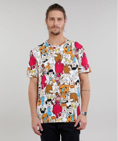 Camiseta-Masculina-Estampada-Os-Flintstones-Manga-Curta-Gola-Careca-Branca-9208910-Branco_1