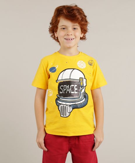 Camiseta-Infantil--Space--Astronauta-com-Paete-Dupla-Face-Manga-Curta-Gola-Careca-Amarela-9265221-Amarelo_1