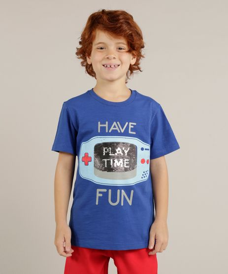Camiseta-Infantil--Play-Time--com-Paete-Dupla-Face-Manga-Curta-Gola-Careca-Azul-Royal-9265220-Azul_Royal_1