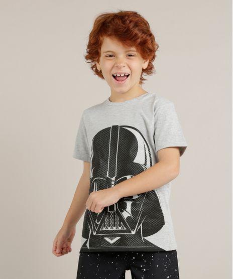 Camiseta-Infantil-Darth-Vader-Star-Wars-Manga-Curta-Gola-Careca-Cinza-Mescla-9228774-Cinza_Mescla_1