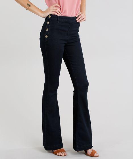 0b5f0dad7 Calca-Jeans-Feminina-Flare-com-Botoes-Preta-9102254- ...