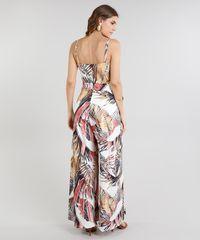 f8ca59715 Macacão Feminino Pantalona Estampado de Folhagens com Faixa Decote V ...