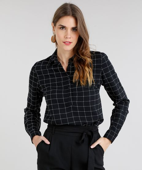 Camisa-Feminina-Quadriculada-Manga-Longa-Preta-9197162-Preto_1