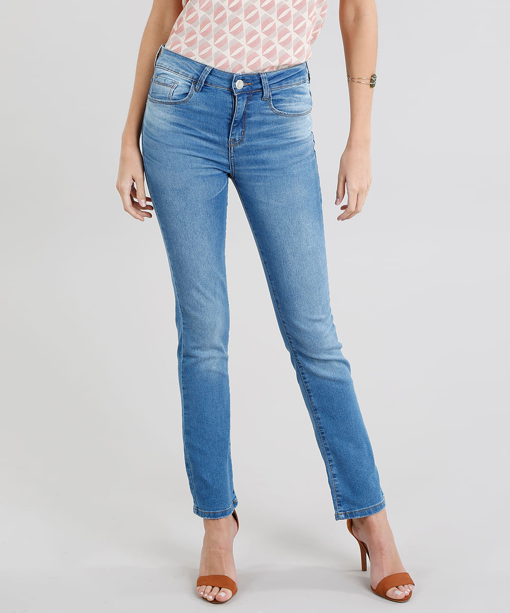 318fcd972 Calça Jeans Feminina Reta Azul Médio - ceacollections