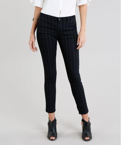 892c62e9c Calça Jeans Feminina Skinny Risca de Giz Preta - cea