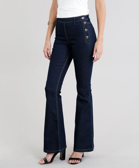Calca-Jeans-Feminina-Flare-com-Botoes-Azul-Escuro-9101337-Azul_Escuro_1