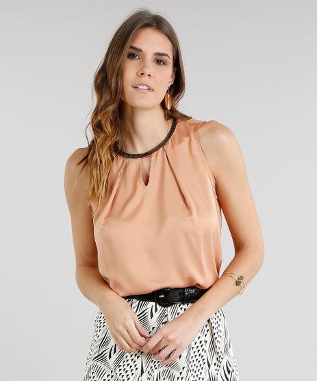 Regata-Feminina-Acetinada-com-Corrente-Decote-Redondo-Caramelo-8540712-Caramelo_1