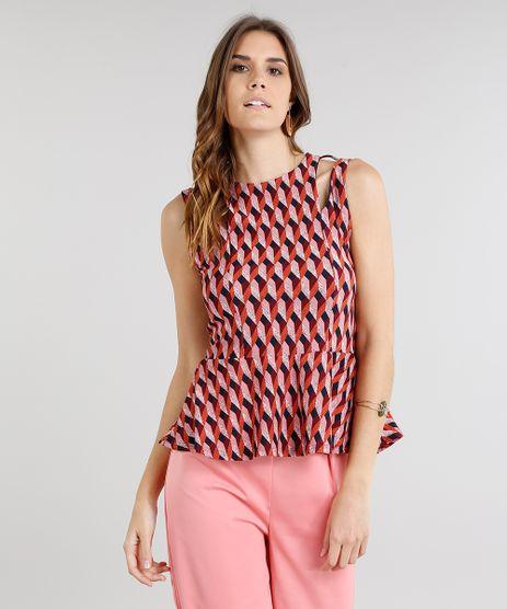Regata-Feminina-Peplum-com-Vazados-Estampada-Geometrico-Coral-9225752-Coral_1