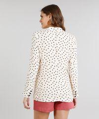 f245e356c3 Blazer Feminino Estampado Mini Print Geométrico Bege - ceacollections