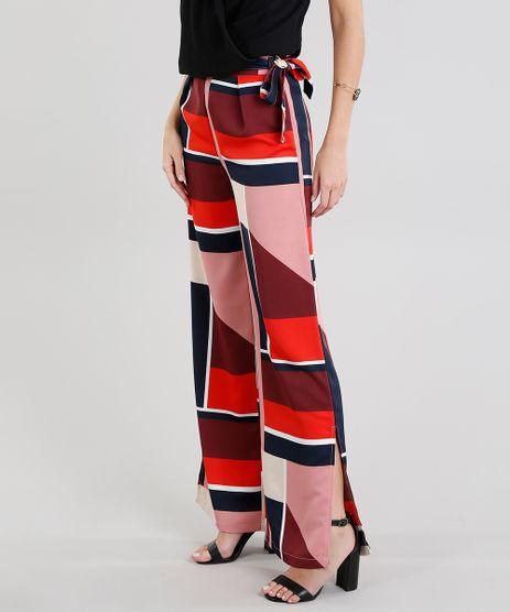 Calca-Feminina-Pantalona-Clochard-Estampada-Geometrica-com-Fendas-Vinho-9190194-Vinho_1