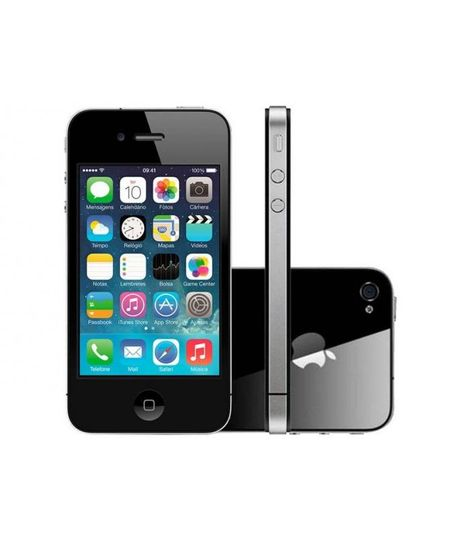 Iphone 4S 8Gb 3G Ios 8 Tela 3.5 ´ Wi - Fi - 8Mp Grava Em Hd + Frontal Desbloqueado Claro Preto - Unico - COD. 2044991