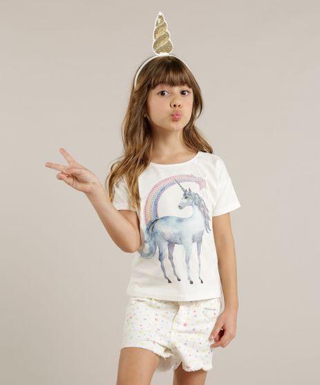 Blusa-Infantil-Unicornio-com-Paete-Manga-Curta-Decote-Redondo-Off-White-9263839-Off_White_1
