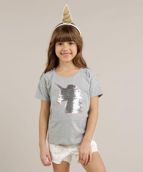 Blusa-Infantil-Unicornio-com-Paete-Manga-Curta-Decote-Redondo-Cinza-Mescla-9263838-Cinza_Mescla_1