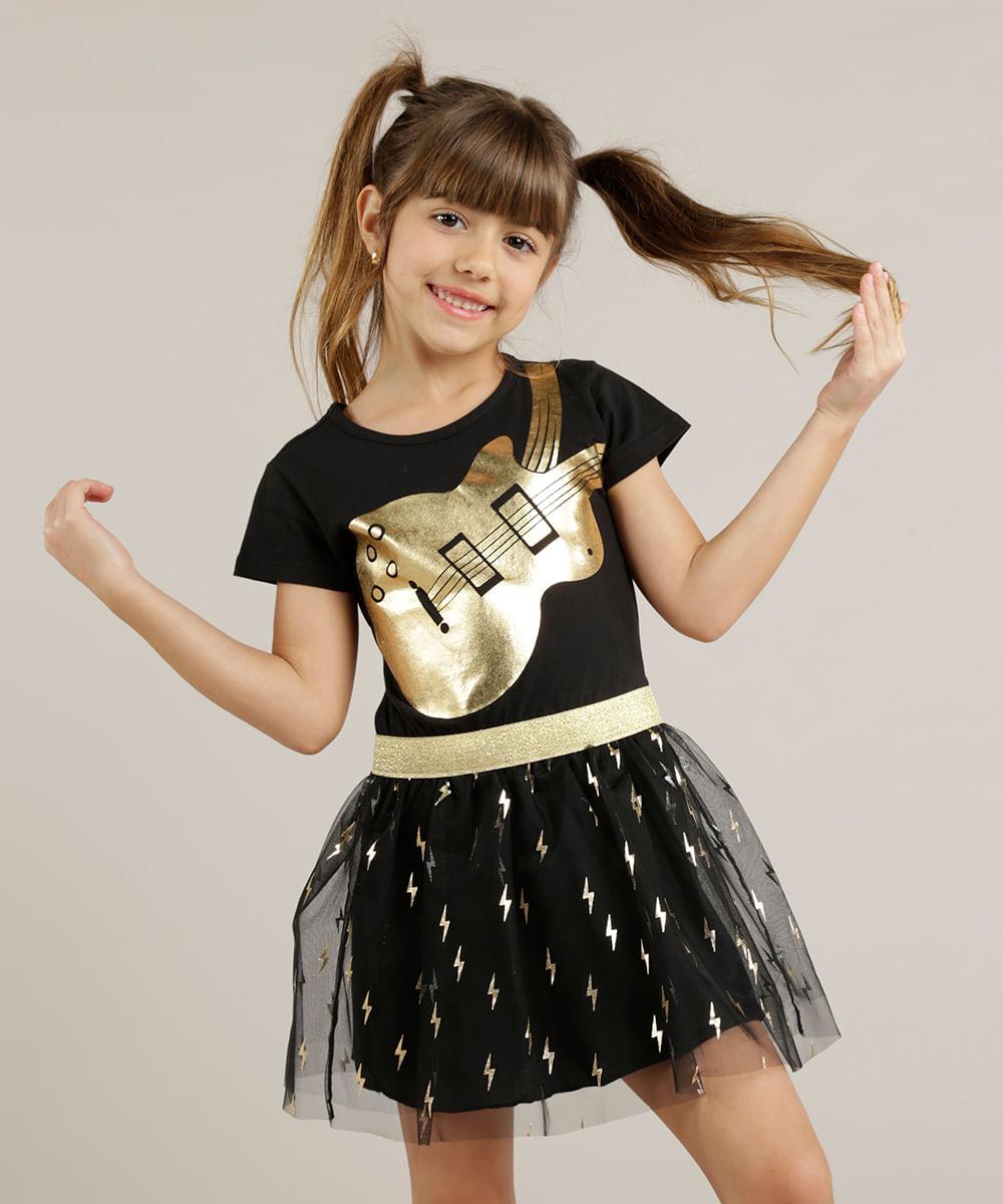 35175084c Vestido Infantil Rock com Tule Metalizado Preto - ceacollections