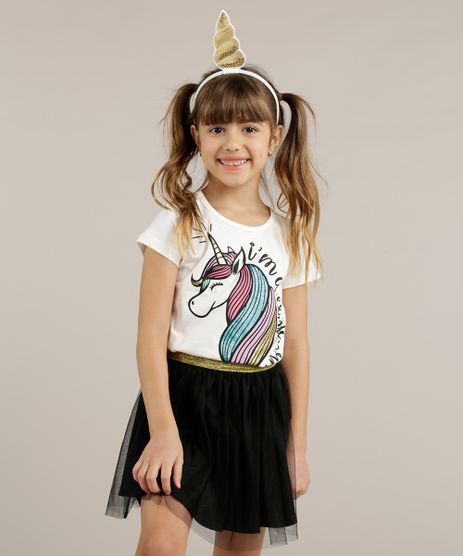 Blusa-Infantil-Unicornio-com-Glitter---Tiara-Manga-Curta-Decote-Redondo-Off-White-9258954-Off_White_1
