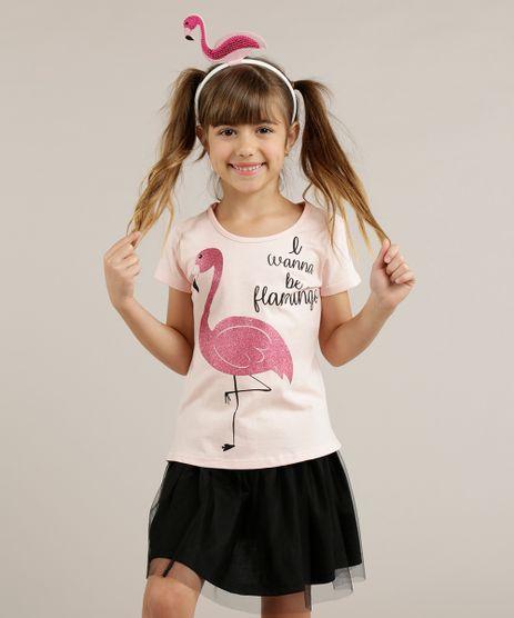 Blusa-Infantil-Flamingo-com-Glitter---Tiara-Manga-Curta-Decote-Redondo-Rosa-Claro-9258957-Rosa_Claro_1