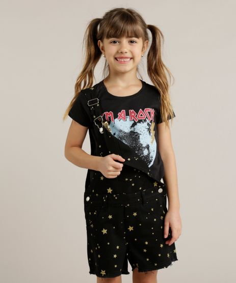 Blusa-Infantil--I-m-a-Rock-Star--com-Paete-Manga-Curta-Decote-Redondo-Preta-9245410-Preto_1
