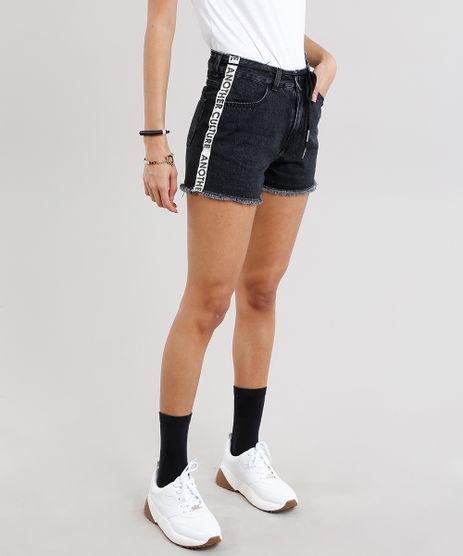 Short-Jeans-Feminino-Vintage-com-Faixa-Lateral-e-Cadarco-Preto-9271810-Preto_1