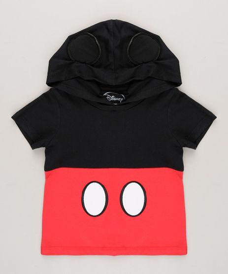Camiseta-Infantil-Mickey-com-Capuz-e-Orelhinhas-Manga-Curta-em-Algodao---Sustentavel-Preta-8749786-Preto_1