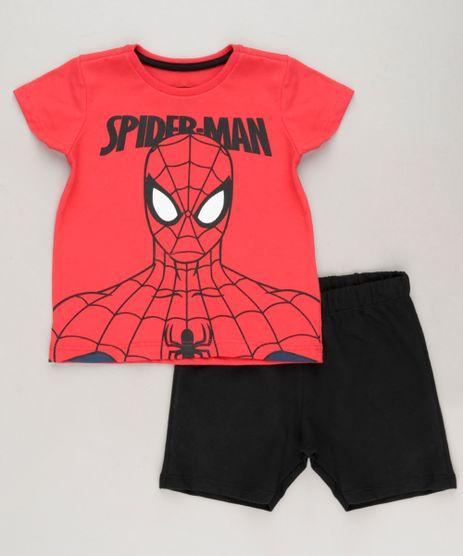 Conjunto-Infantil-Homem-Aranha-de-Camiseta-Manga-Curta-Vermelha---Bermuda-em-Moletom-Preta-9234969-Preto_1