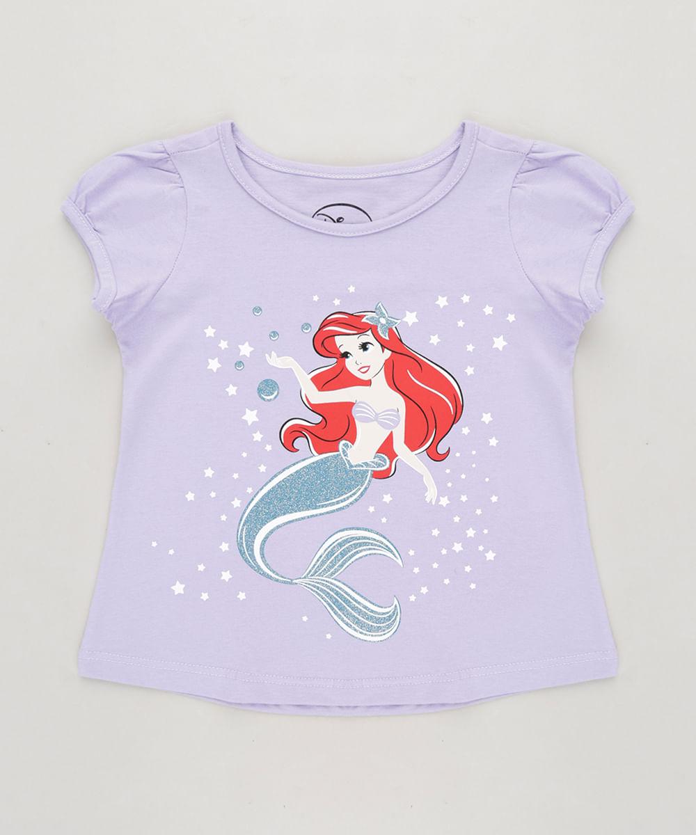 aa21ddb1b Blusa Infantil Pequena Sereia Ariel com Glitter Manga Curta Decote ...