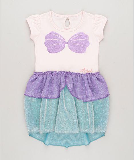 d0afe1c3c0f2c1 Vestido Infantil Pequena Sereia Ariel com Glitter e Lurex Manga ...