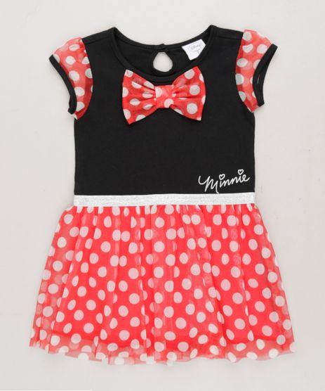 Vestido-Infantil-Minnie-com-Laco-Manga-Curta-Decote-Redondo-Preto-9268909-Preto_1