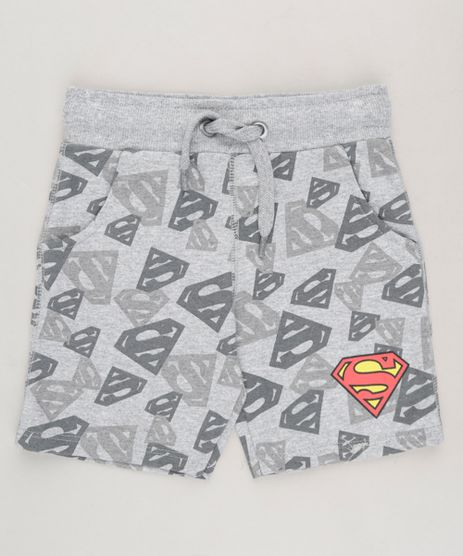 Bermuda-Infantil-Estampada-Super-Homem-em-Moletom-com-Bolsos-Cinza-Mescla-9234138-Cinza_Mescla_1