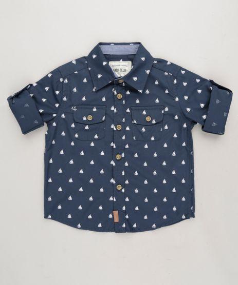 Camisa-Infantil-Estampada-Mini-Print-de-Barcos-com-Bolsos-Manga-Longa-em-Algodao---Sustentavel-Azul-Marinho-9188992-Azul_Marinho_1