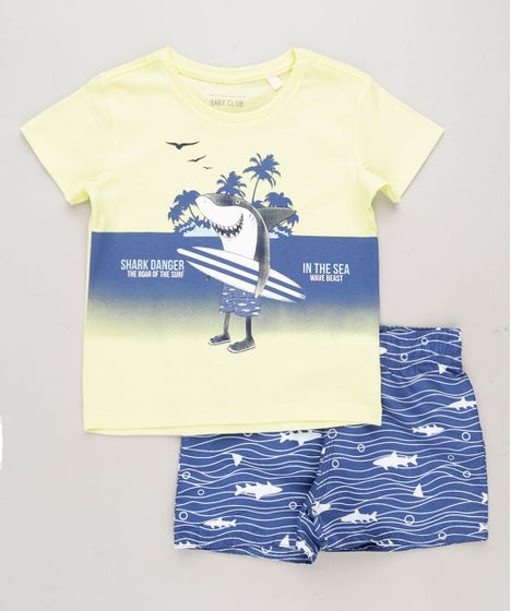 d065ae0791fdf Conjunto Infantil Tubarão de Camiseta Manga Curta Amarelo Claro + ...