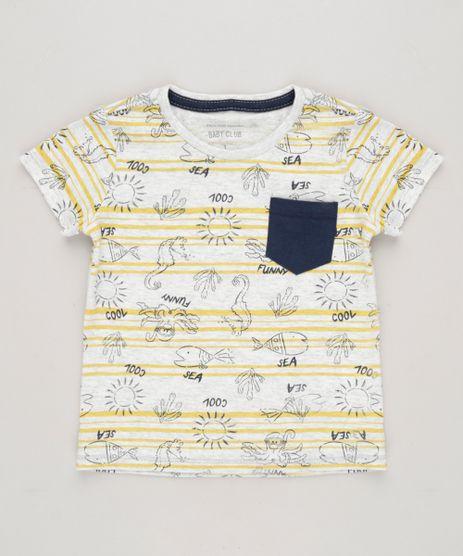 Camiseta-Infantil-Estampada-Fundo-do-Mar-com-Bolso-Manga-Curta-Gola-Careca-Cinza-Mescla-Claro-9227992-Cinza_Mescla_Claro_1