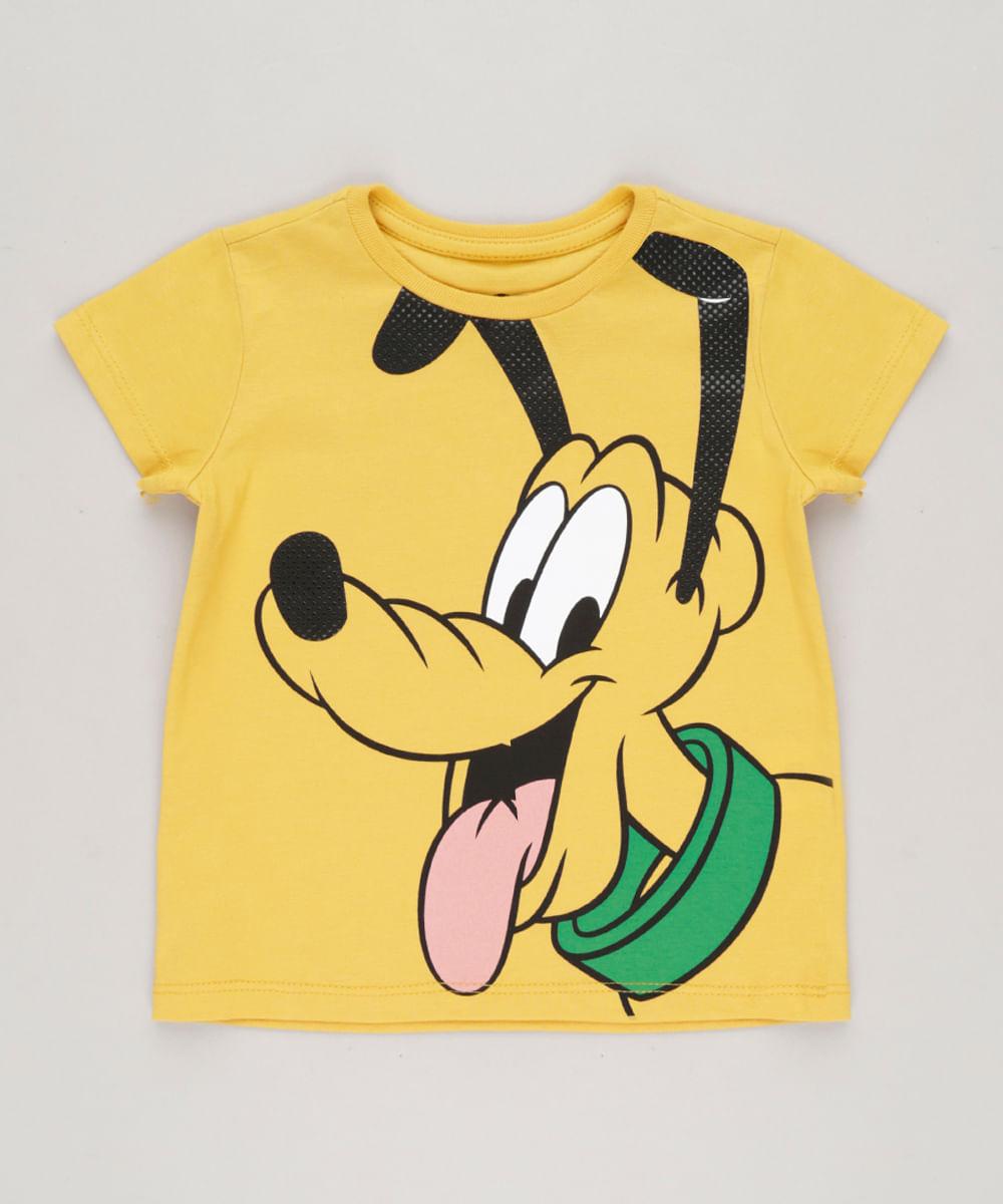 32e095afcfa61 Camiseta Infantil Pluto Manga Curta Gola Careca Mostarda - cea