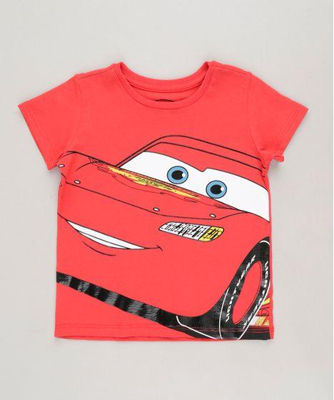 9051ec6e0ae0c Camiseta Infantil Relâmpago McQueen Carros Manga Curta Gola Careca ...