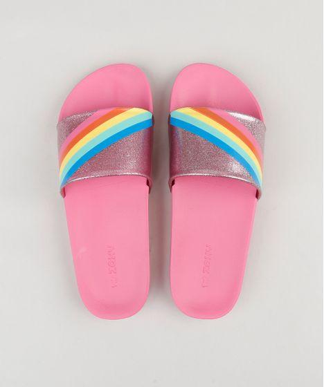 7595ca2f0b Chinelo Slide Feminino com Glitter e Arco Íris Rosa - cea