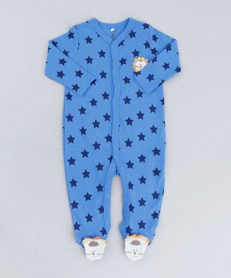 Macacao-Infantil-Leao-Estampado-de-Estrelas-Manga-Longa-em-Algodao---Sustentavel-Azul-9110034-Azul_1
