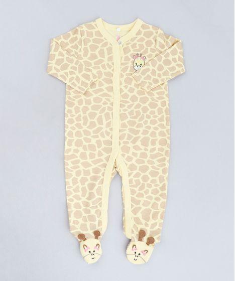 1a426955b0 Macacão Infantil Girafa Estampado Animal Print Manga Longa Amarelo