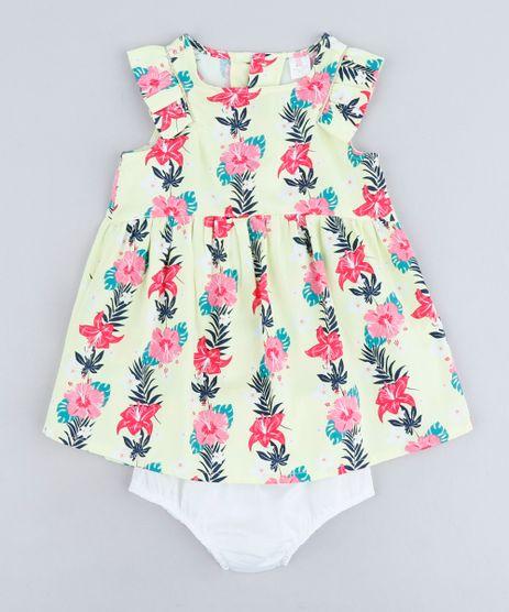 Vestido-Infantil-Estampado-Floral-com-Babado-Sem-Manga-Decote-Redondo---Calcinha-em-Algodao---Sustentavel-Amarelo-Claro-9116664-Amarelo_Claro_1