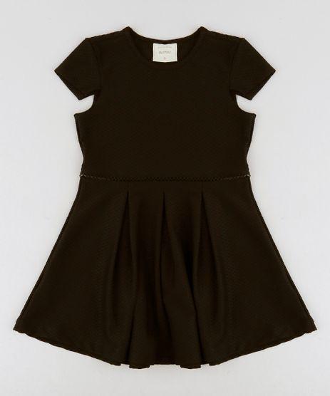 Vestido-Infantil-Texturizado-com-Pregas-Manga-Curta-Decote-Redondo--Preto-9259360-Preto_1