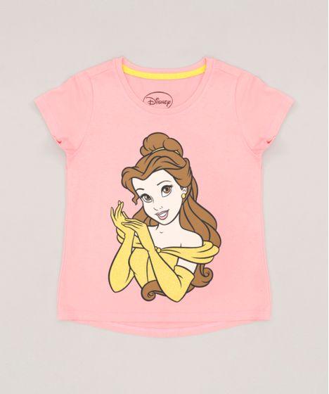 Blusa Infantil Princesas Bela Manga Curta Decote Redondo Rosa - cea 0955e174233