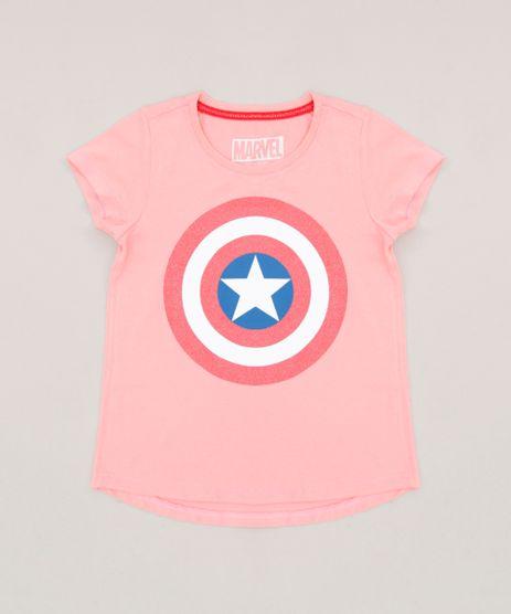 Blusa-Infantil-Capitao-America-Manga-Curta-Decote-Redondo--Rosa-9269451-Rosa_1
