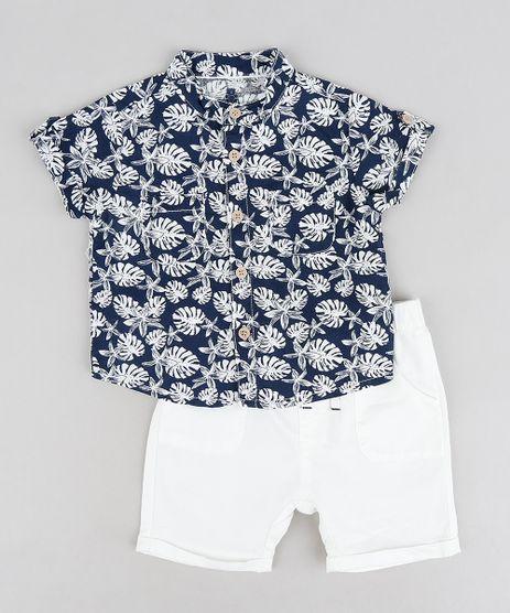 Conjunto-Infantil-de-Camisa-com-Linho-Estampada-de-Folhas-Manga-Curta-Azul-Marinho---Bermuda-em-Algodao---Sustentavel-Off-White-9118883-Off_White_1
