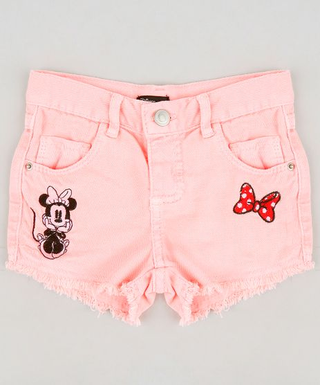 Short-Color-Infantil-Minnie-com-Bordado-e-Barra-Desfiada-Rosa-Neon-9276656-Rosa_Neon_1
