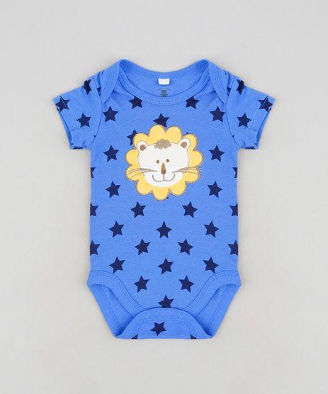 Body-Infantil-Leao-Estampado-de-Estrelas-Manga-Curta-em-Algodao---Sustentavel-Azul-9110032-Azul_1