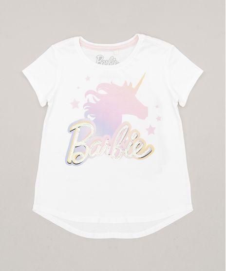 Blusa-Infantil-Barbie-Unicornio-com-Paetes-Manga-Curta-Decote-Redondo-em-Algodao---Sustentavel-Off-White-9277592-Off_White_1