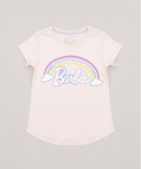 Blusa-Infantil-Barbie-Arco-Iris-com-Glitter-Manga-Curta-Decote-Redondo-em-Algodao---Sustentavel-Rose-9277593-Rose_1