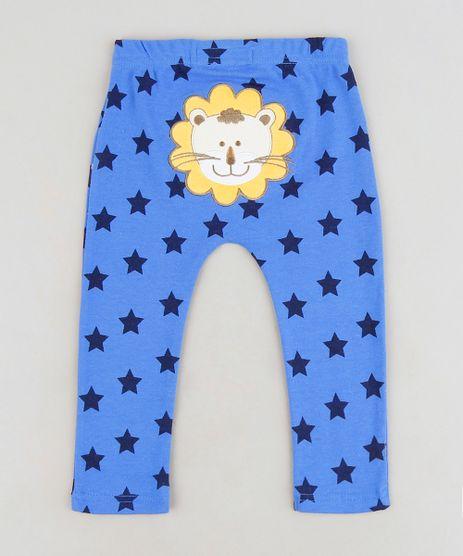 Calca-Infantil-Leao-Estampada-de-Estrelas-em-Algodao---Sustentavel-Azul-9110030-Azul_1