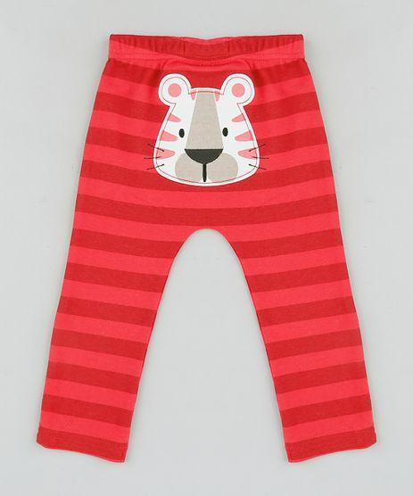 Calca-Infantil-Tigre-Listrada-em-Algodao---Sustentavel-Vermelha-9110029-Vermelho_1