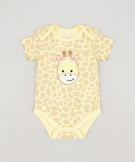 Body-infantil-Girafa-Estampado-Animal-Print-em-Algodao---Sustentavel-Amarelo-9109990-Amarelo_1