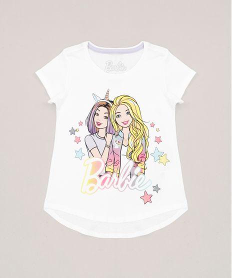 Blusa-Infantil-Barbie-com-Glitter-Manga-Curta-Decote-Redondo-em-Algodao---Sustentavel-Off-White-9277591-Off_White_1